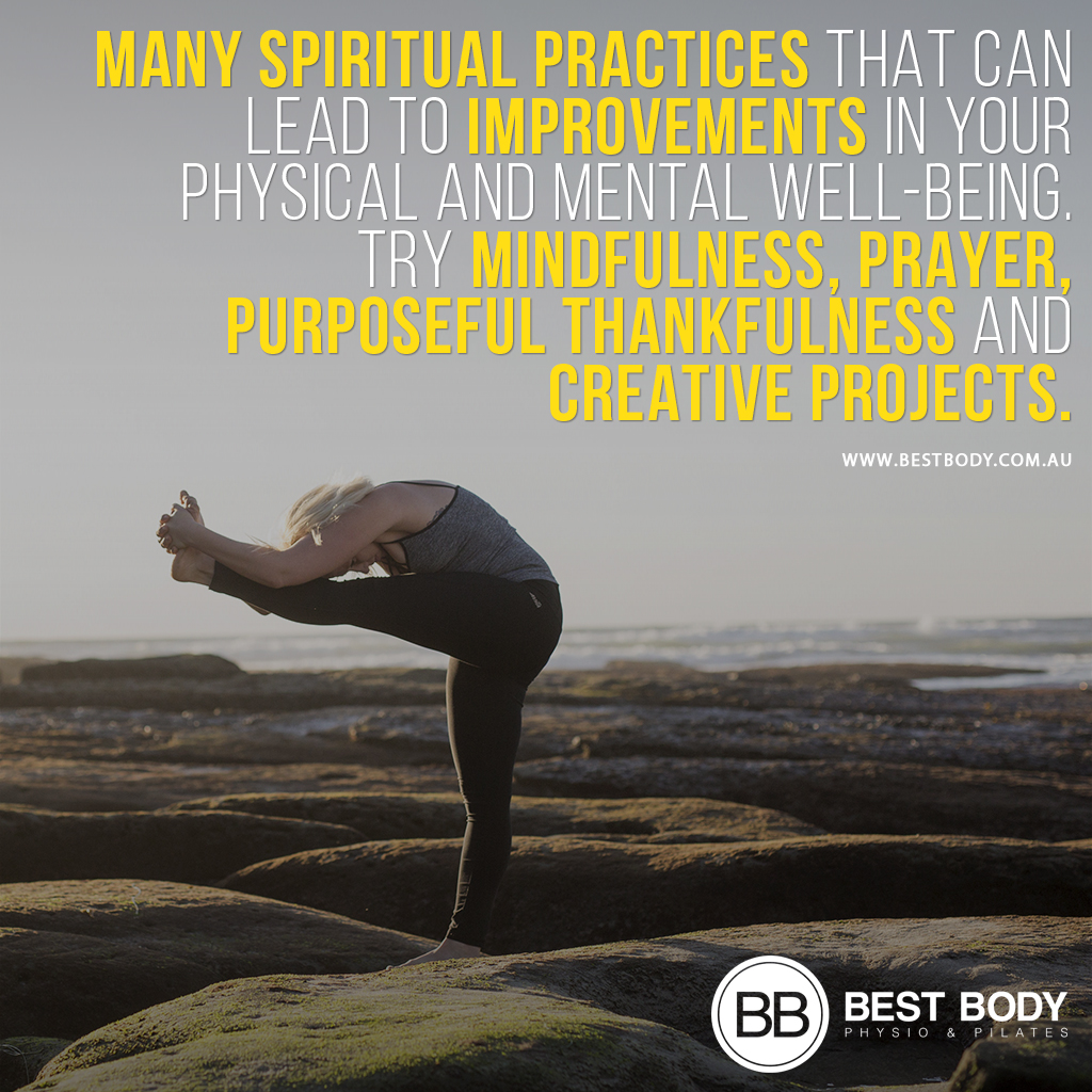 Many spiritual practices that can lead to improvements in your physical and mental well-being. Try mindfulness, prayer, purposeful thankfulness and creative projects.  #reformerpilates    #mindsetmatters     #fitnessmotivation   #bestbody   #physioandpilates #TheWescombeMethodpic.twitter.com/AHVYjZC7XF