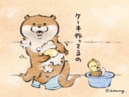 ケーキ作ってるの🍰#カワウソ