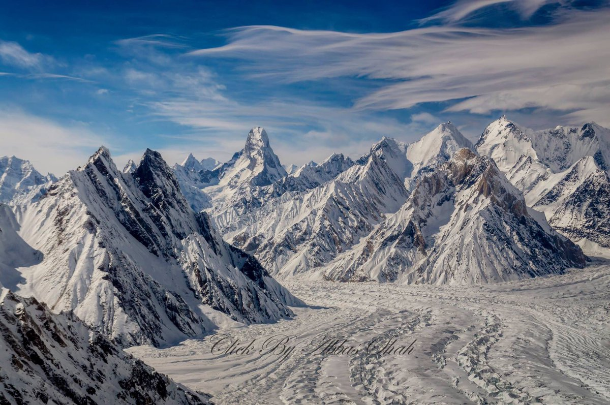 An aerial view of baltoro glacier. Muztakh Tower standing tall and alone #baltoro #MondayMotivation #baltistan