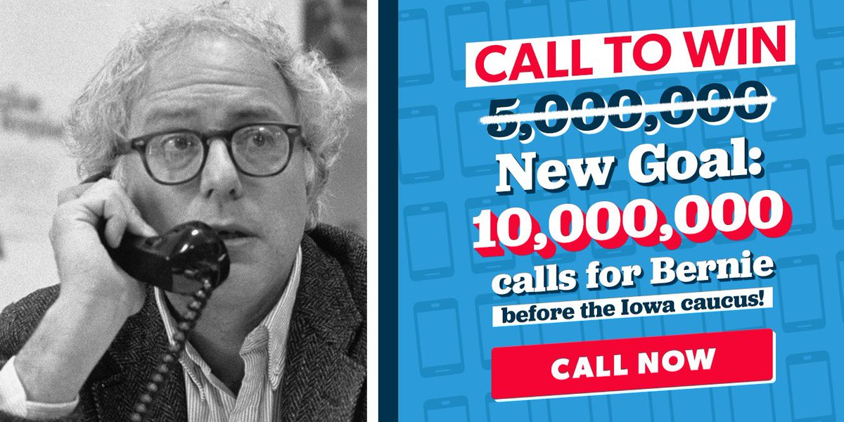 Well, we thought we were setting a big goal of 5 million calls before the Iowa caucus. Apparently it wasn't big enough. It took just over two weeks for you to make 5 million calls, so we're setting a new goal: Help us reach 10 million calls at berniesanders.com/call.