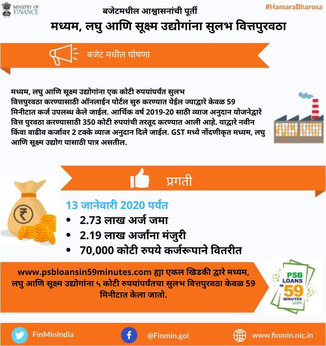 भारताला एका नव्या उंचीवर घेऊन जाण्याचा संकल्प: कर्जपुरवठा सुलभ करून उद्याचे उद्योजक घडवणे. #HamaraBharosa @nsitharamanoffc @Anurag_Office @PIB_India @DDNewslive @airnewsalerts