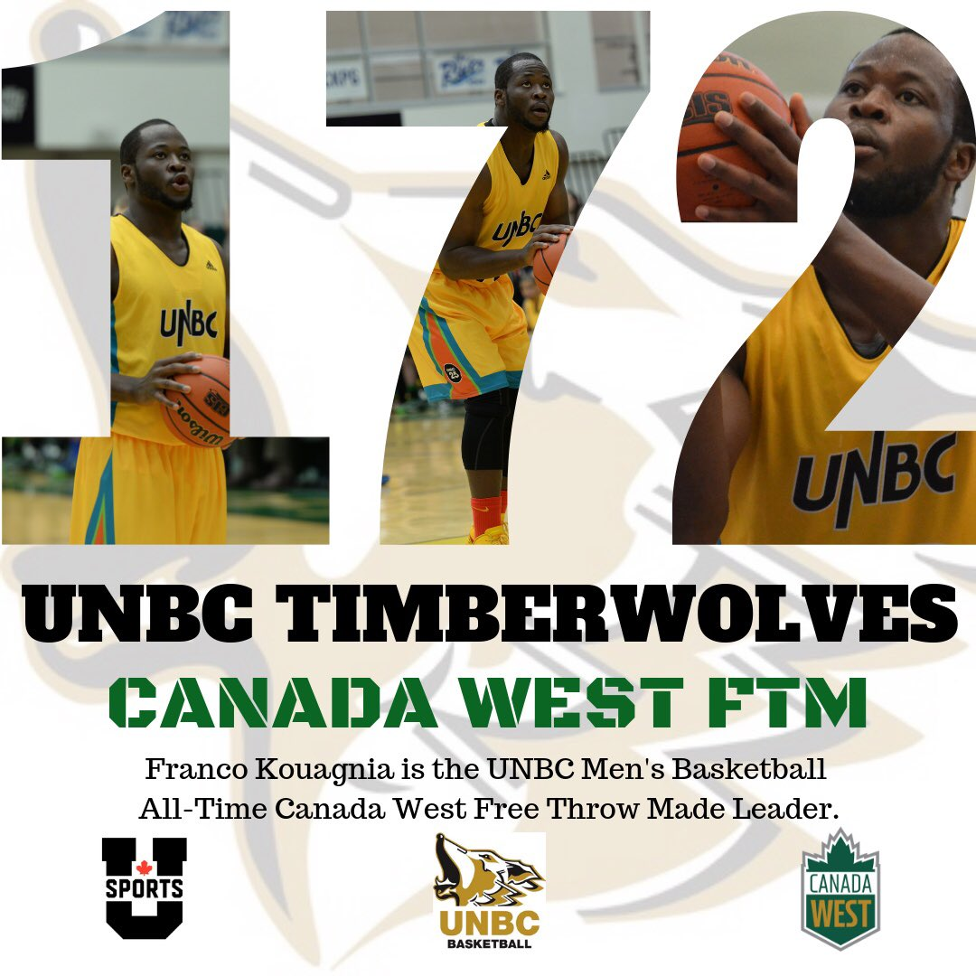The All-Time @UNBCATHLETICS Men's Basketball leader for free throws made is Franco Kouagnia with 172. @VovaPluzhnikov is the highest active player with 148.   #unbc #unbctimberwolves #unbcbasketball  #princegeorge #canadawest #usports #alltimetimberwolves #gotwolves #runasonepic.twitter.com/EdSygKm1YF