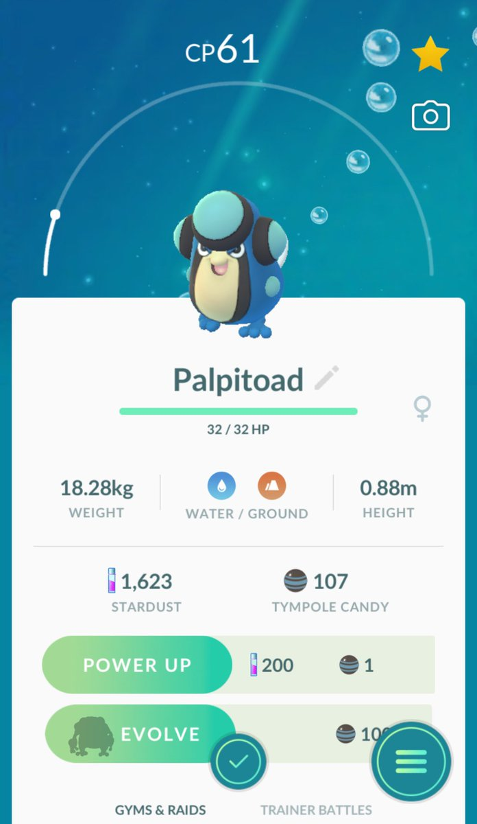 Dj Higuma Dj羆 On Twitter I Evolved Seismitoad From Palpitoad And Tympole In Pokemongo Gotta Catch Em All Tympole's strongest moveset is bubble & water pulse and it has a max cp of 839. dj higuma dj羆 on twitter i evolved