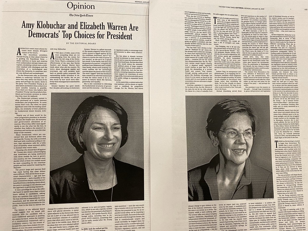 NYT Ed Board Breaks With Tradition, Endorsing Both Warren And Klobuchar