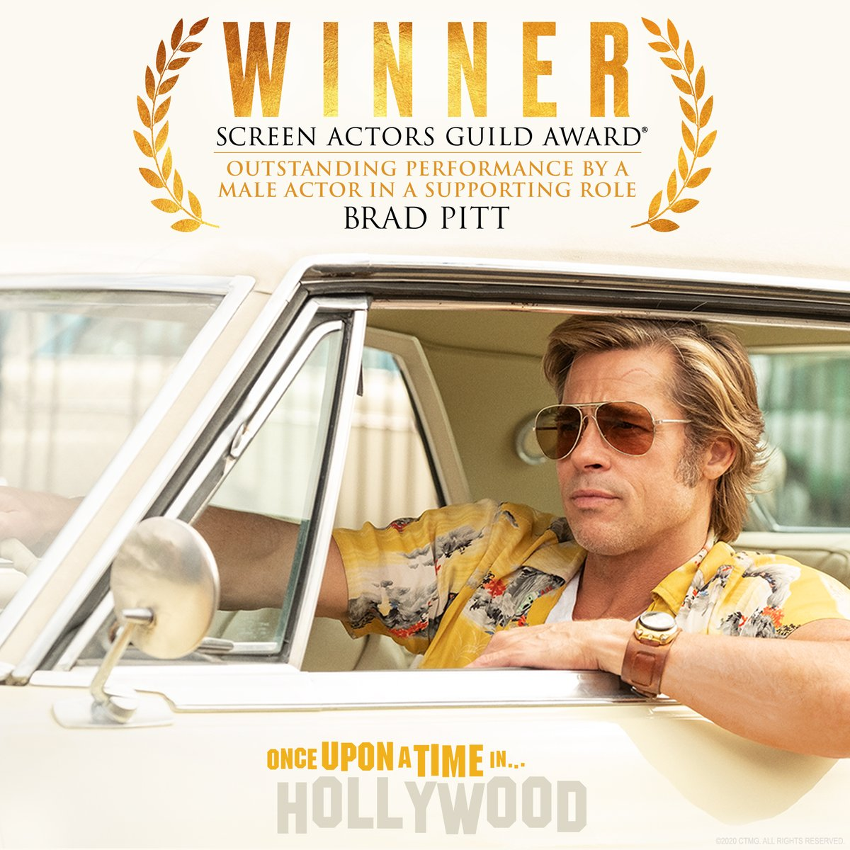 Congratulations to Brad Pitt on his #SAGAwards win for Outstanding Performance by a Male Actor in a Supporting Role in #OnceUponATimeInHollywood! <br>http://pic.twitter.com/yD2OO3kMWF