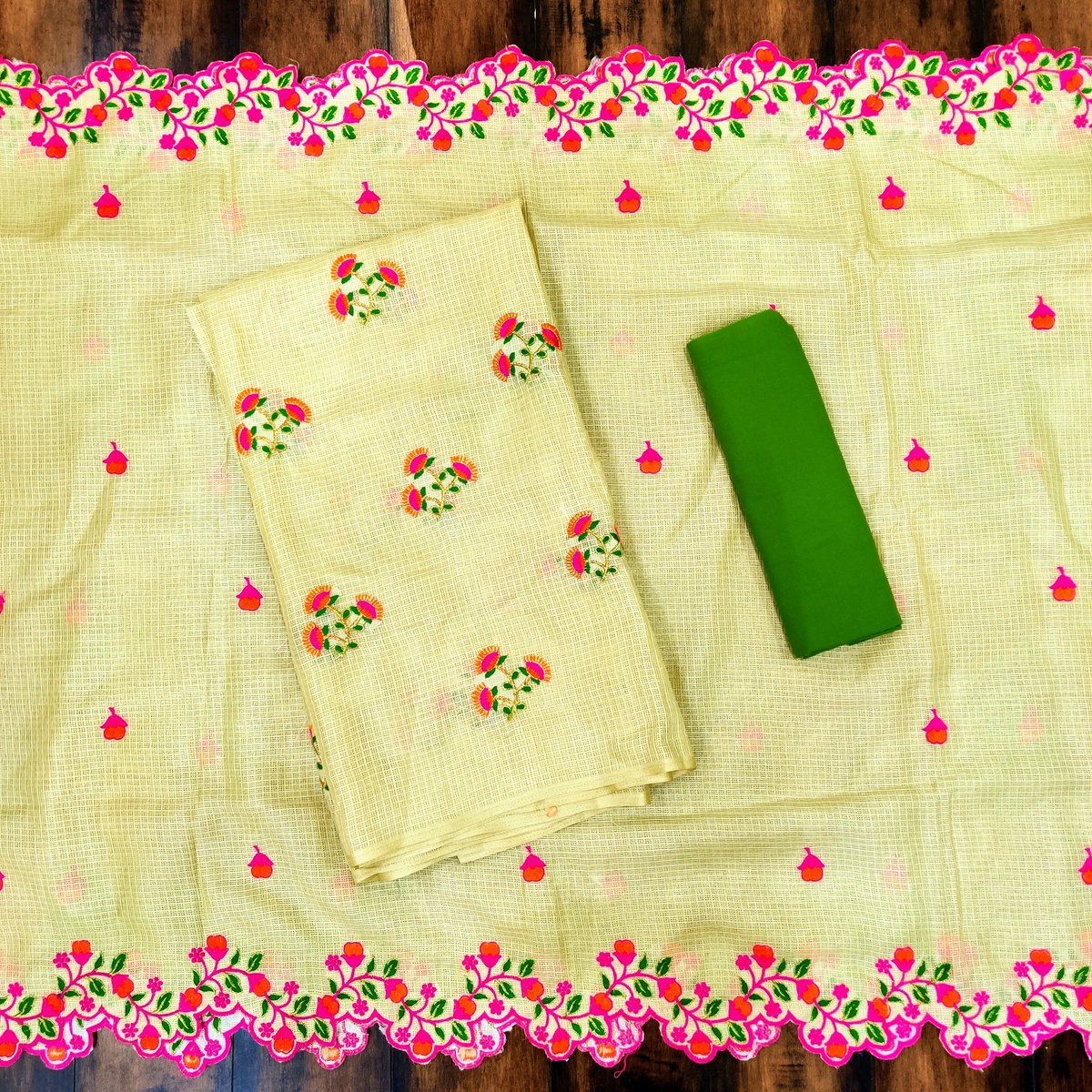 Dress Material consisting of Kotak Doria Thread Embroidered Top & Dupatta with Cotton Bottom  #fashion #clothing #apparel #kotadoria #threadwork #embroidered #embroidery #floral #kurta #kurti #dupatta #cotton #bottom #dressmaterial #traditional #ethnic #ethnicwear #indianwearpic.twitter.com/r829Kzb9w8