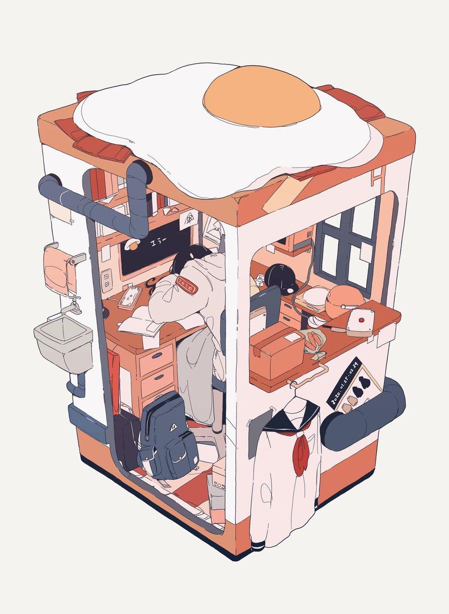 パン家の次女(ご飯派)ベーコンエッグ乗せ部屋