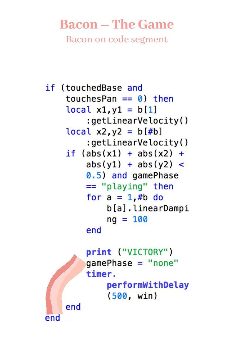 Bacon on code segment Bacon やってる人類、時間を無駄にする才能がある