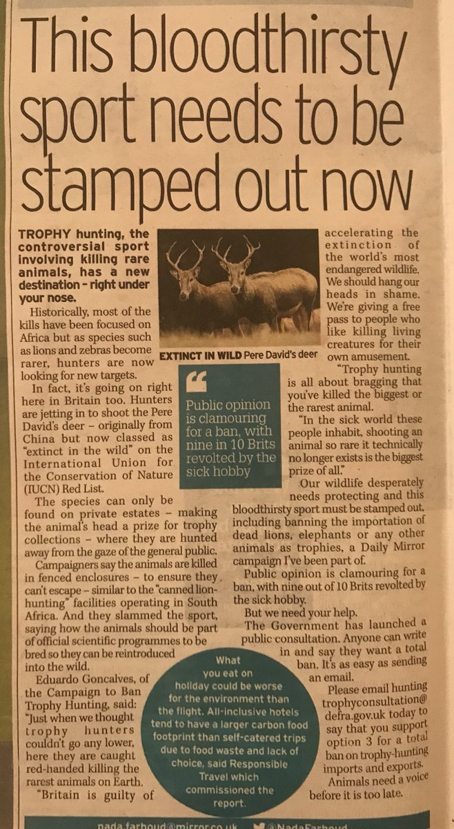 It certainly does! Excellent piece by award winning journalist ⁦@NadaFarhoud⁩ in today's ⁦@DailyMirror⁩ Retweet if you agree! #BanTrophyHunting