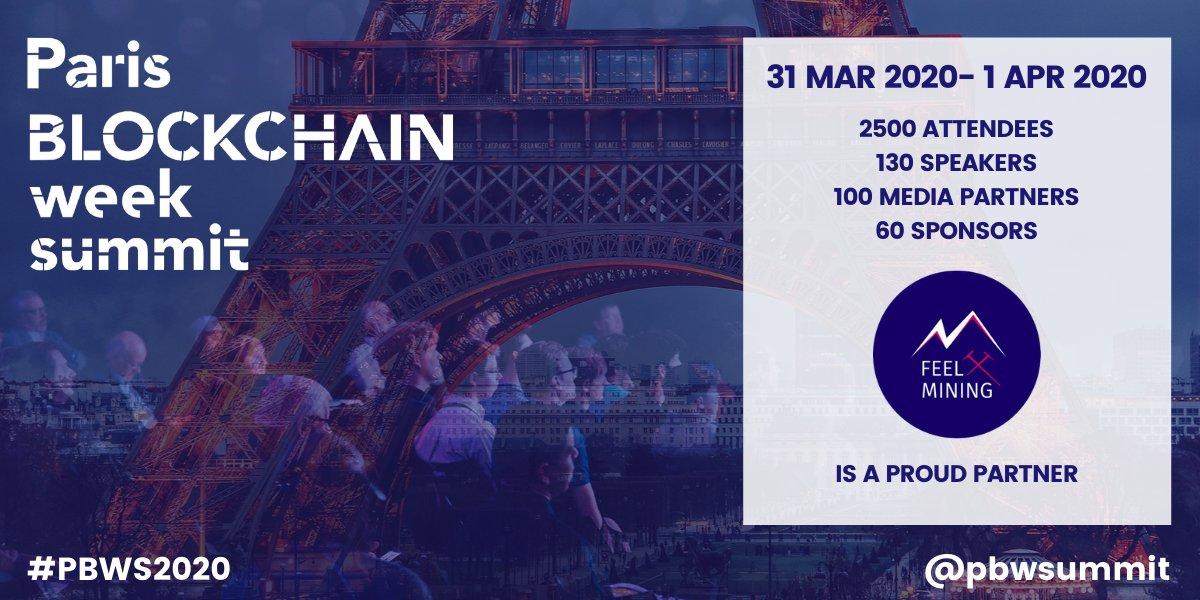 Nous sommes très heureux de devenir sponsor et exposant du Paris Blockchain Week Summit 2020 @pbw !  Si vous souhaitez vous y rendre pour nous rencontrer nous avons un code promo FEELMINING20 (-20%) jusqu'au 29/02  https://www.pbwsummit.com/tickets Profitez en !! #cryptocurrencypic.twitter.com/8wGJjrtwRx