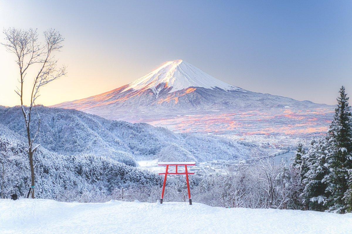 待ち焦がれた雪景色。富士山と共に美しい朝を迎えました☃️