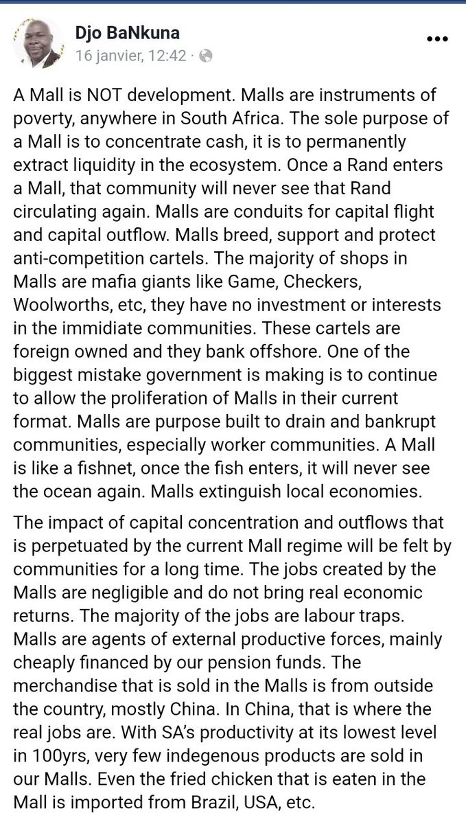 A Mall is not development. Malls are instruments of poverty, anywhere in SA. Once a Rand enters a Mall, that community will never see that Rand circulating again. A Mall is like a fishnet, once the fish enters, it will never see the ocean again. Malls extinguish local economies.<br>http://pic.twitter.com/rGC4DmE4yh