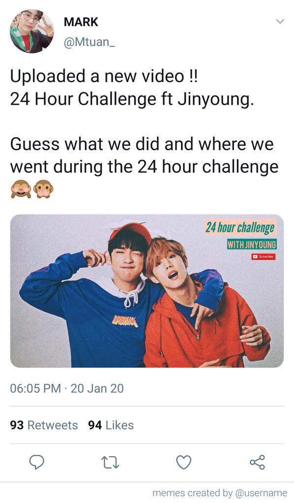 [24 𝘩𝘰𝘶𝘳 𝘤𝘩𝘢𝘭𝘭𝘦𝘯𝘨𝘦]  A short markjin au where vlogger Mark Tuan asked his bestfriend to do the 24 hour challenge with him. <br>http://pic.twitter.com/OLD57ZW0hs