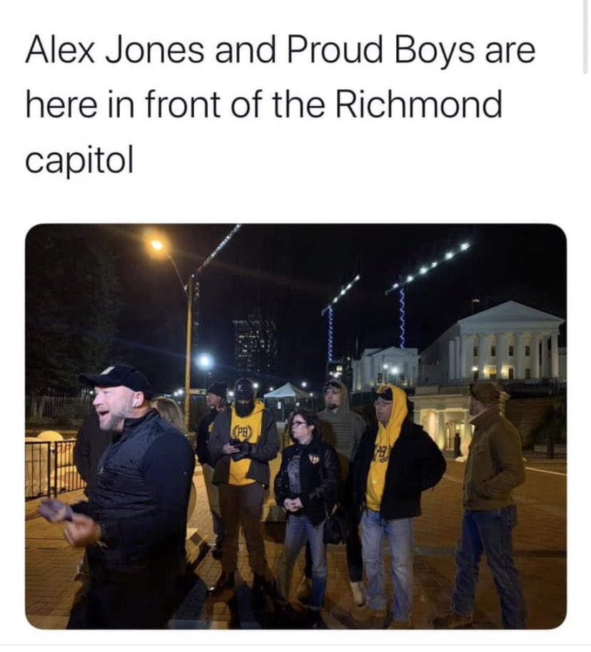 Richmond is currently ground zero for the greatest gathering of pathetic loony Larpers that Virginia has ever seen. You've got your Tea Party types, your incels who are bitter because they can't get laid, your white supremacist twats and you've got your VCDL ammosexuals. Ok. Cool <br>http://pic.twitter.com/l96LKsjWji