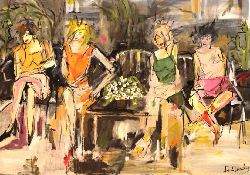 #ArtOfTheDay #Artist: Deborah Essés #mixedmedia #paintings #deborahesses @DeborahEsses  #Artwork: Waiting room, Wartezimmer, 100 x 70 Copyright with Artist