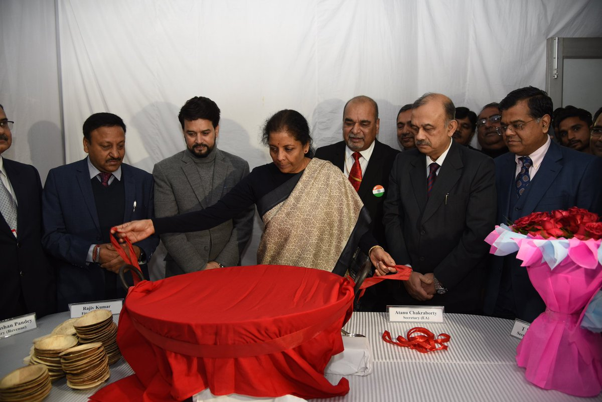 The Union Finance Minister, Smt. @nsitharaman presided over #HalwaCeremony today at North Block to mark the beginning of printing of #Budget2020 documents. MoS Shri @ianuragthakur was also present besides senior @FinMinIndia officials.
