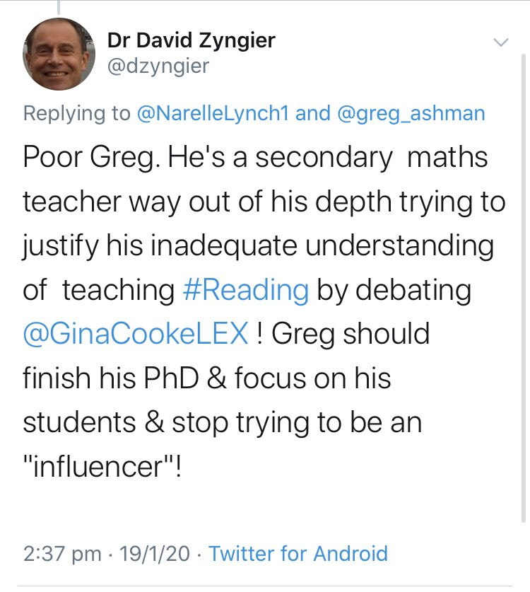 Having a go at me for pursuing my PhD is actually quite a common theme