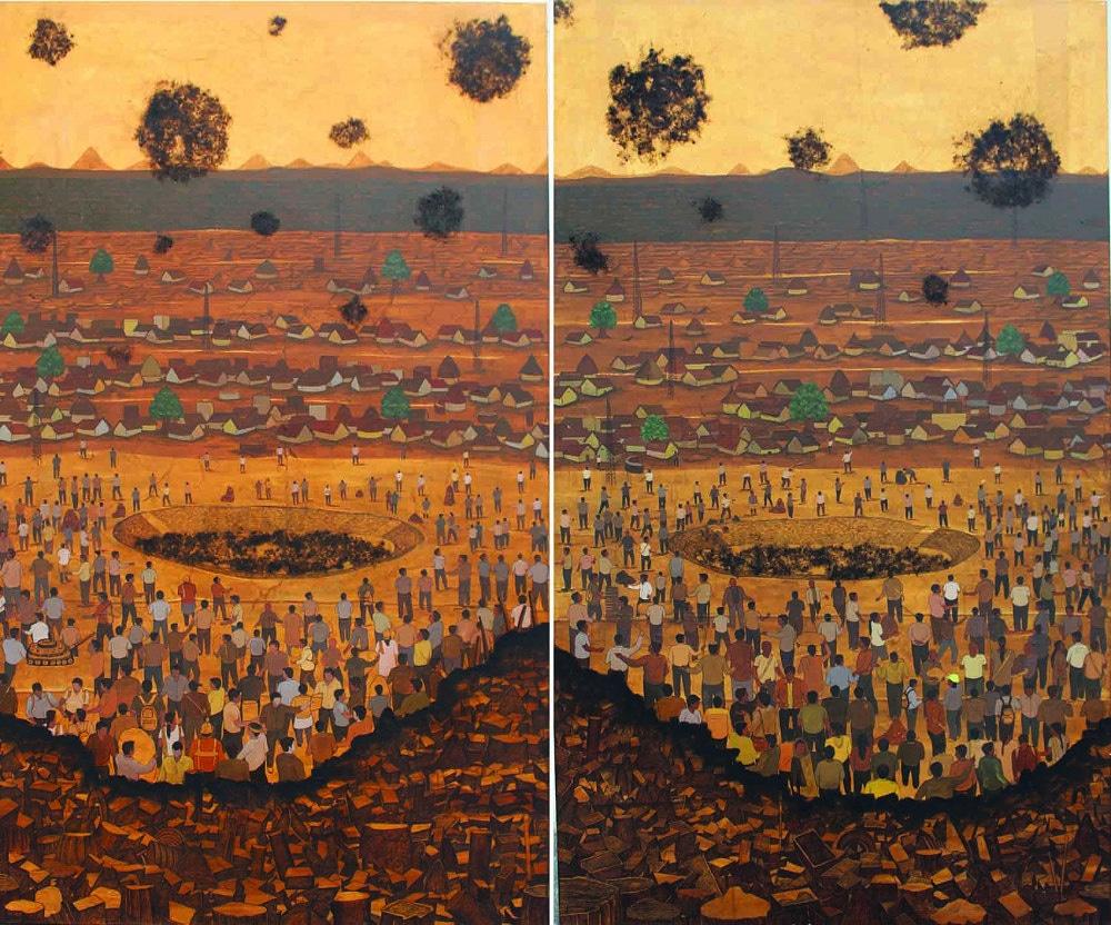#newpainting  Population With Garbage Dump Yard | Artist Ravi Kumar Chaurasiya.  Mixed Media on Canvas | 60 X 72 inches | Rs. 1,20,000.  Explore on .  #originalart #contemporaryart #artoftheday #artforsale #artforhomedecor #artforinteriors