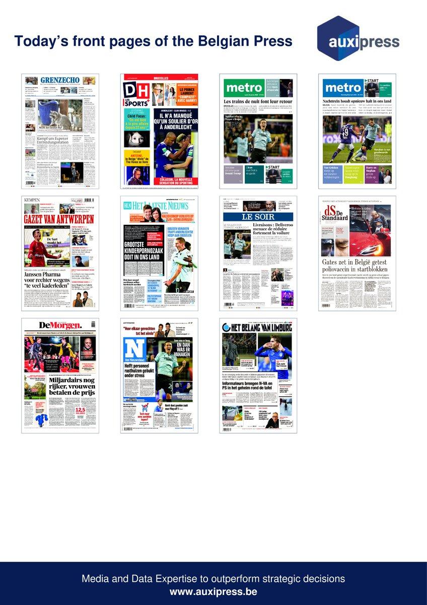 #Newsoftheday - Discover today's front pages of the #BelgianPress 🧐📰💡! #AsEupen #ChildFocus #Megxit #Anderlecht #Bruges #TheVoice #OpenAustralie #Vanaken  #DonaldTrump #Iran #AIEA #VanGrieken #Deliveroo #Link #Robots #Climat #EmirKir #Genk #Miljardairs #Magnette #DeWever