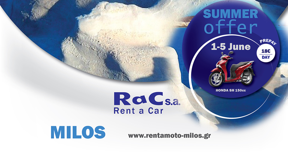 Rac s.a. rent a car SUMMER OFFER 1-5 June MILOS Visit our official web sites and see our new offers for summer season 2020! http://rac-rentals.gr  http://rentacar-milos.gr   #sea #beach #sand #sun #boats #rocks #pictureofday #photooftheday #photoshootingpic.twitter.com/i0b79qDB4X