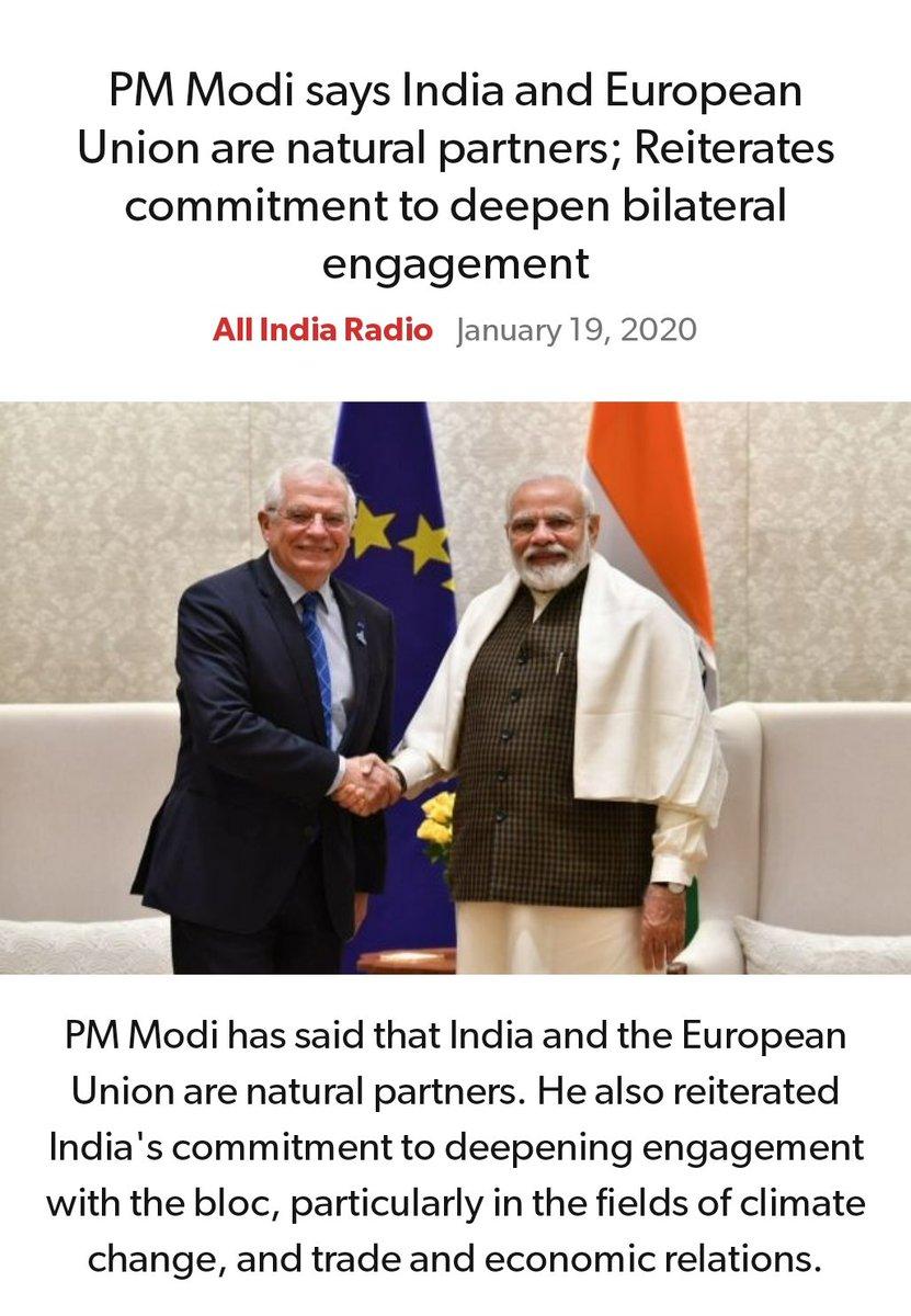 #MeraParivarBhajpaParivar  #BarBarNamoNamoNamo  #IndiaSupportsCAA_NRC_NPR  PM Modi says India and European Union are natural partners; Reiterates commitment to deepen bilateral engagement http://www.newsonair.com/Main-News-Details.aspx?id=378923…  via NaMo Apppic.twitter.com/2mF1iYkTYl