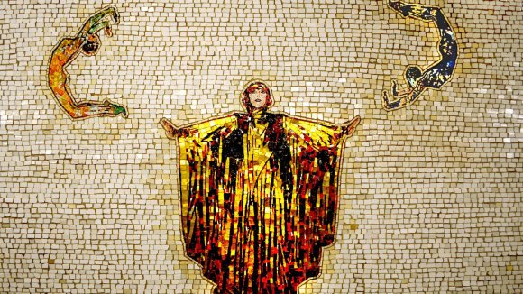 Nancy Spero, from Artemis, Acrobats, Divas and Dancers, 2001, glass and ceramic mosaic on subway walls, New York #womensart