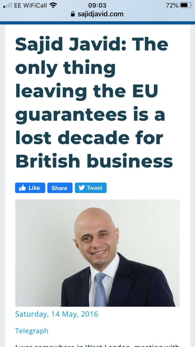 #Javid is so incompetent and immoral, he now thinks it's ok to wreck our economy and livelihoods so that he can stay in his prestigious role. #EU #Johnsonbrexit<br>http://pic.twitter.com/sbMC05LKJW