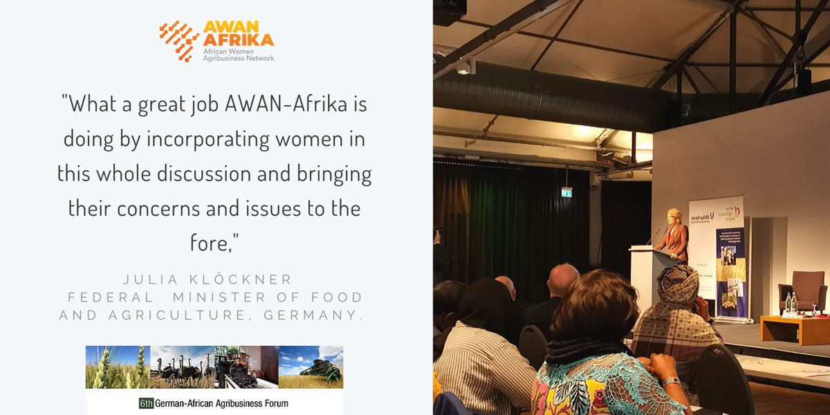 "@JuliaKloeckner said, ""What a great job AWAN-Afrika is doing by incorporating women in this whole discussion and bringing their concerns and issues to the fore"" during her keynote speech this morning, at the German-African Agribusiness Forum. #IGW2020 https://t.co/c5Oku1X4VP"