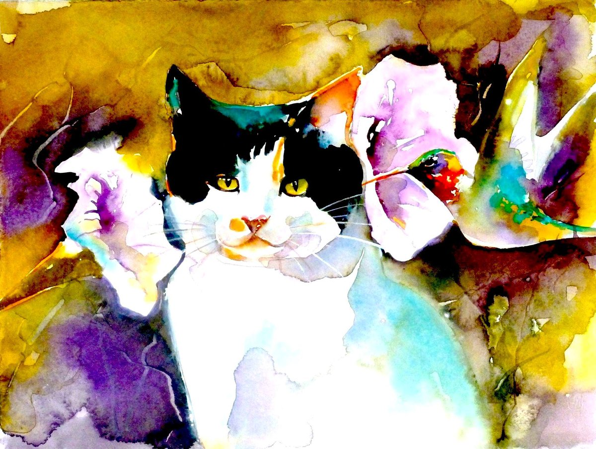 Christeve the Cat with magical hummingbird -watercolour <br>http://pic.twitter.com/bBXjVgoqgs