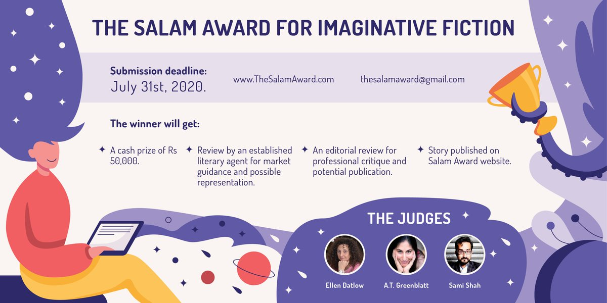 Another year, another great opportunity for SF writers living in or from Pakistan! Our award is looking for your speculative, imaginative, fantastical fiction. We are joined by our brilliant judges: @samishah @EllenDatlow @AtGreenblatt For more: https://t.co/eQv6fnCx5h https://t.co/jTdsnXEO1K
