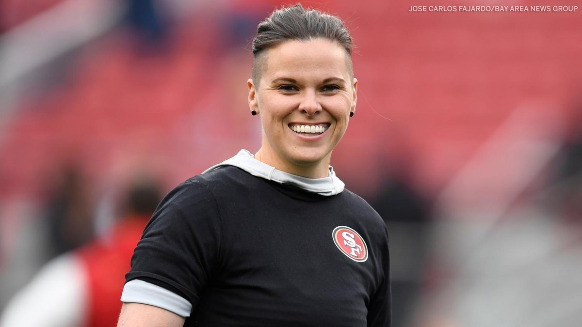 .@KatieSowers continues to make NFL history 🙌  She will be the first female to coach in a Super Bowl, as the 49ers take on the Chiefs next month.