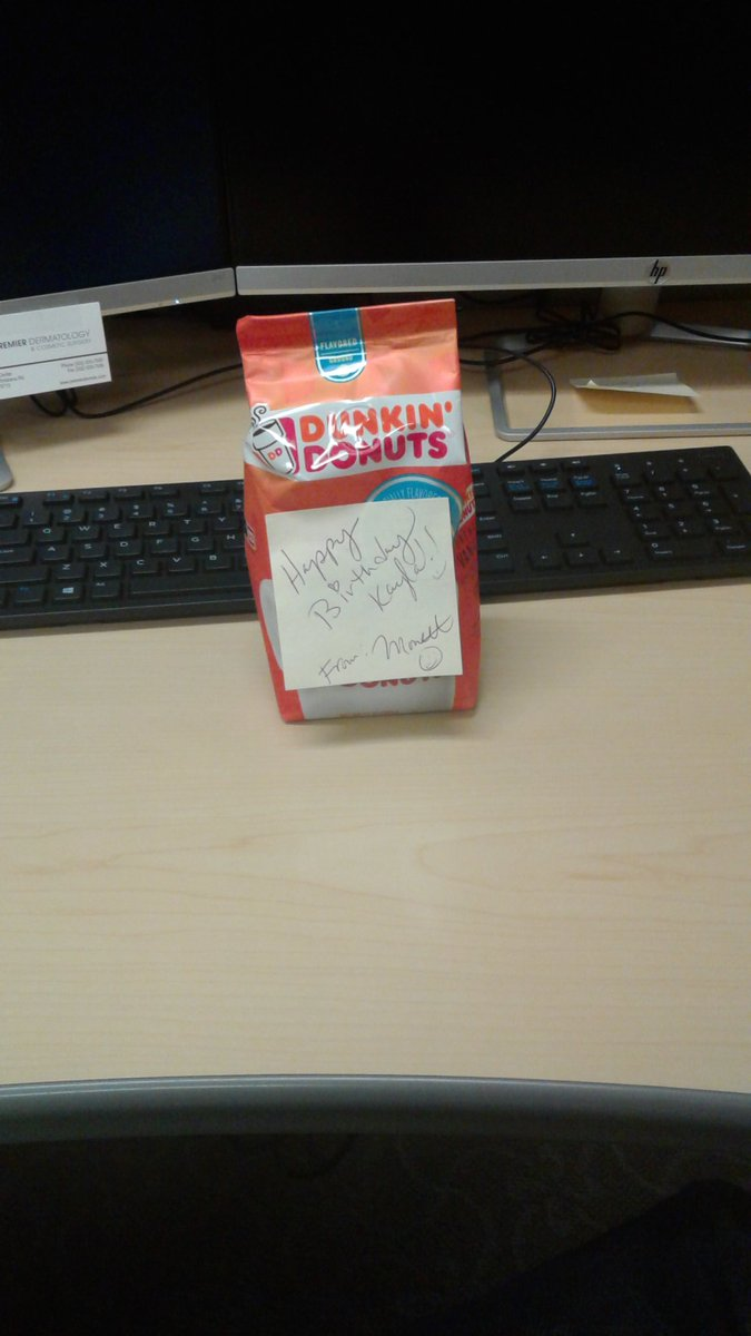 My birthday is tomorrow and I won't be at work. I came in this morning to some fresh #FrenchVanilla #DunkinCoffee on my desk this morning. I have the best coworkers.  #WorkLove #Almost30 #INeedAllTheCoffee<br>http://pic.twitter.com/QZo9x1HwBB