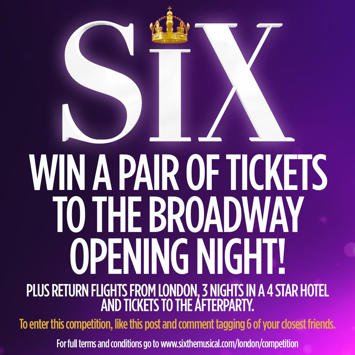 Hold on to your crowns, Queens…it's competition time!  Win 2 flights to New York, 3 nights in a 4 star hotel, and a pair of tickets to the opening night of SIX on Broadway, plus tickets to the afterparty! To enter just retweet this post tagging 6 friends  #Queendom<br>http://pic.twitter.com/19IYfz2JA4