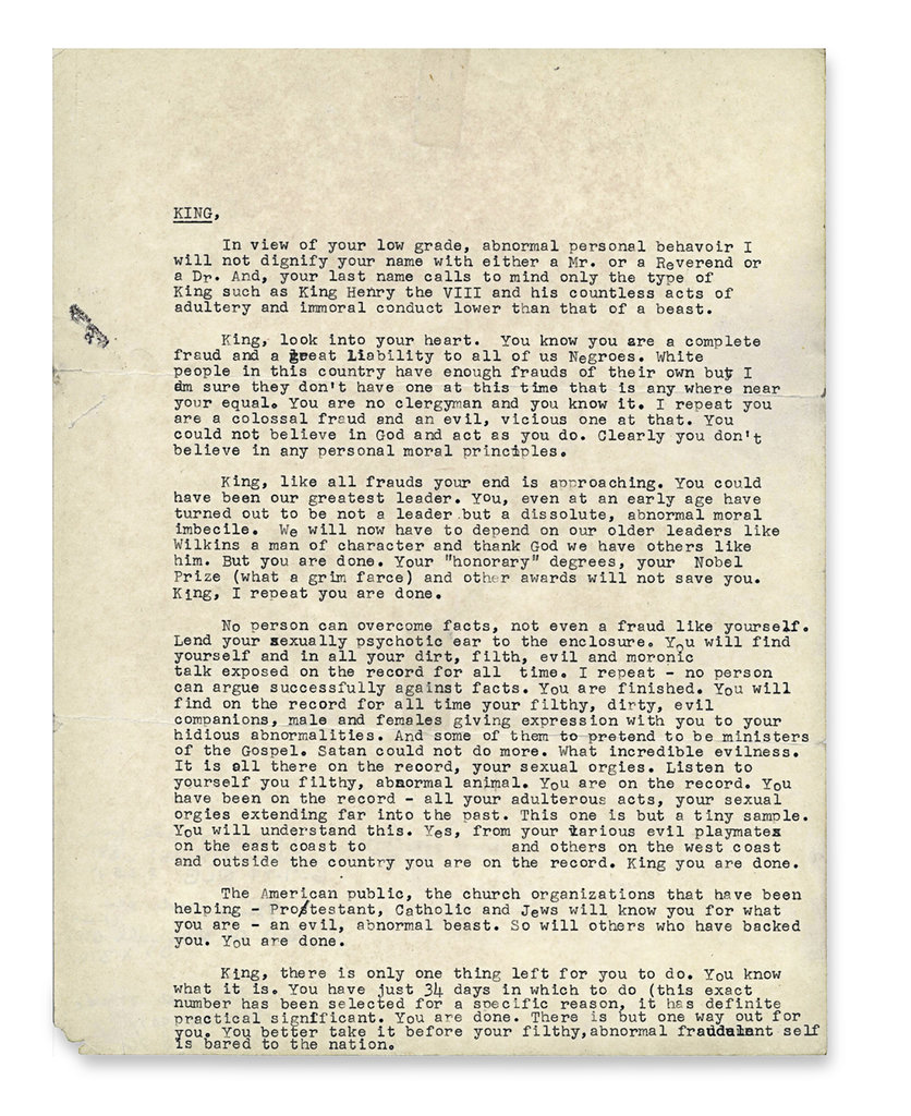 Every #MLKDay  I post this anonymous letter from the FBI to King, encouraging him to kill himself. It's a reminder of our country's deep racism, its undermining of the civil rights movement, and how easily our gov't can run amok. <br>http://pic.twitter.com/cCEbb3tMYj