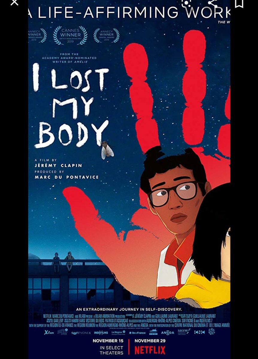 Never thought I could feel so emotionally attached to a severed hand as a protagonist.. #ILostMyBody. Possibly my favourite film from 2019. Heartfelt. Every moment is a discovery. pic.twitter.com/CqjtXiiZdC