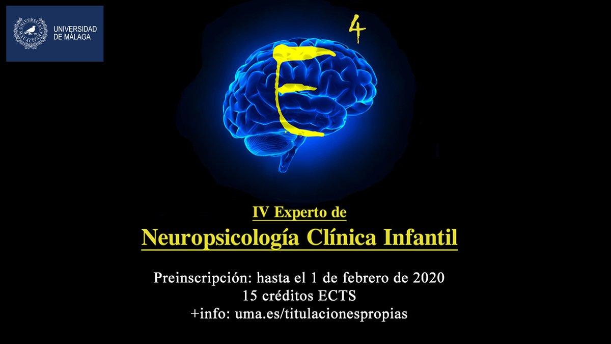 Abierta preinscripción hasta el 1 de febrero para el IV Experto Universitario en Neuropsicología Clínica Infantil, foro formativo para estudiantes y profesionales en activo para la promoción y fortalecimiento psicológico del niño. 15 créditos ECTS. +info: