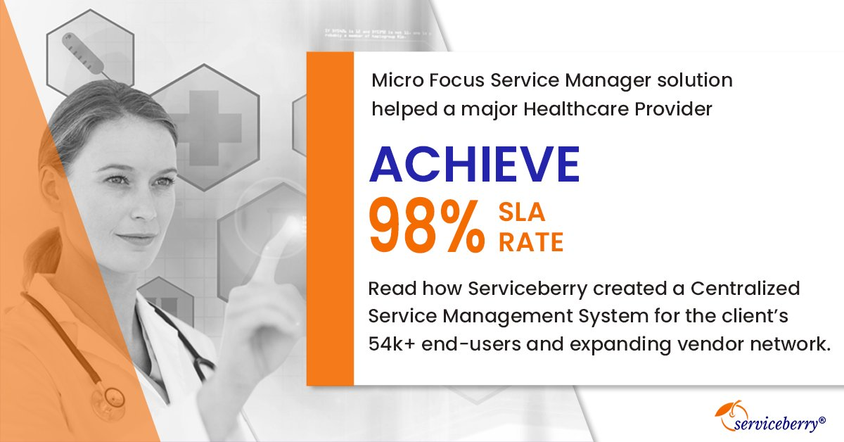 A Healthcare Provider wanted to integrate its huge network of 54k+ end-users and 8 vendors. Serviceberry deployed Micro Focus Service Manager to deliver an integrated, centralized service management system.    https://buff.ly/2YDWwXa   #CaseStudy #CustomIntegration #Serviceberrypic.twitter.com/gNjS9kANec