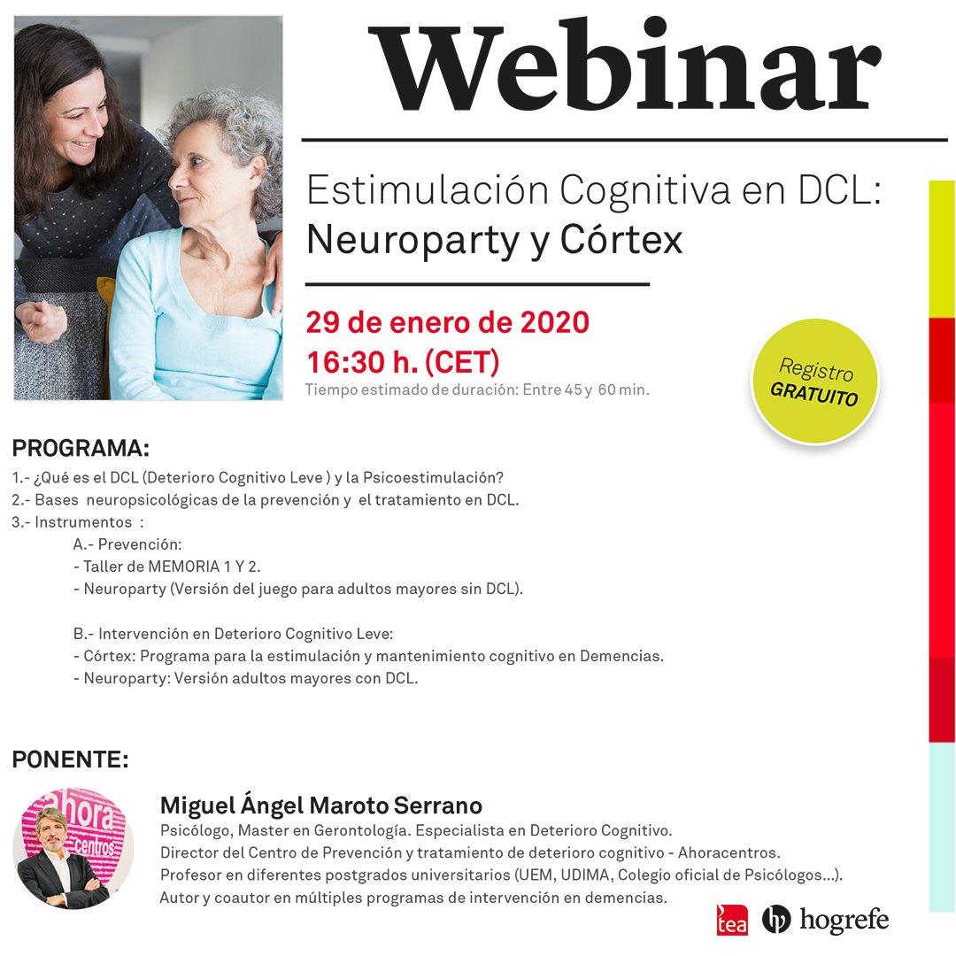 El próximo día 29 hablaremos del Deterioro Cognitivo Leve y la Psicoestimulación en este webinar gratuito 👉  #WebinarTEA #Psicología #Alzheimer #DeterioroCognitivo #Estimulacióncognitiva #DCL #Psicoestimulación #Neuropsicología