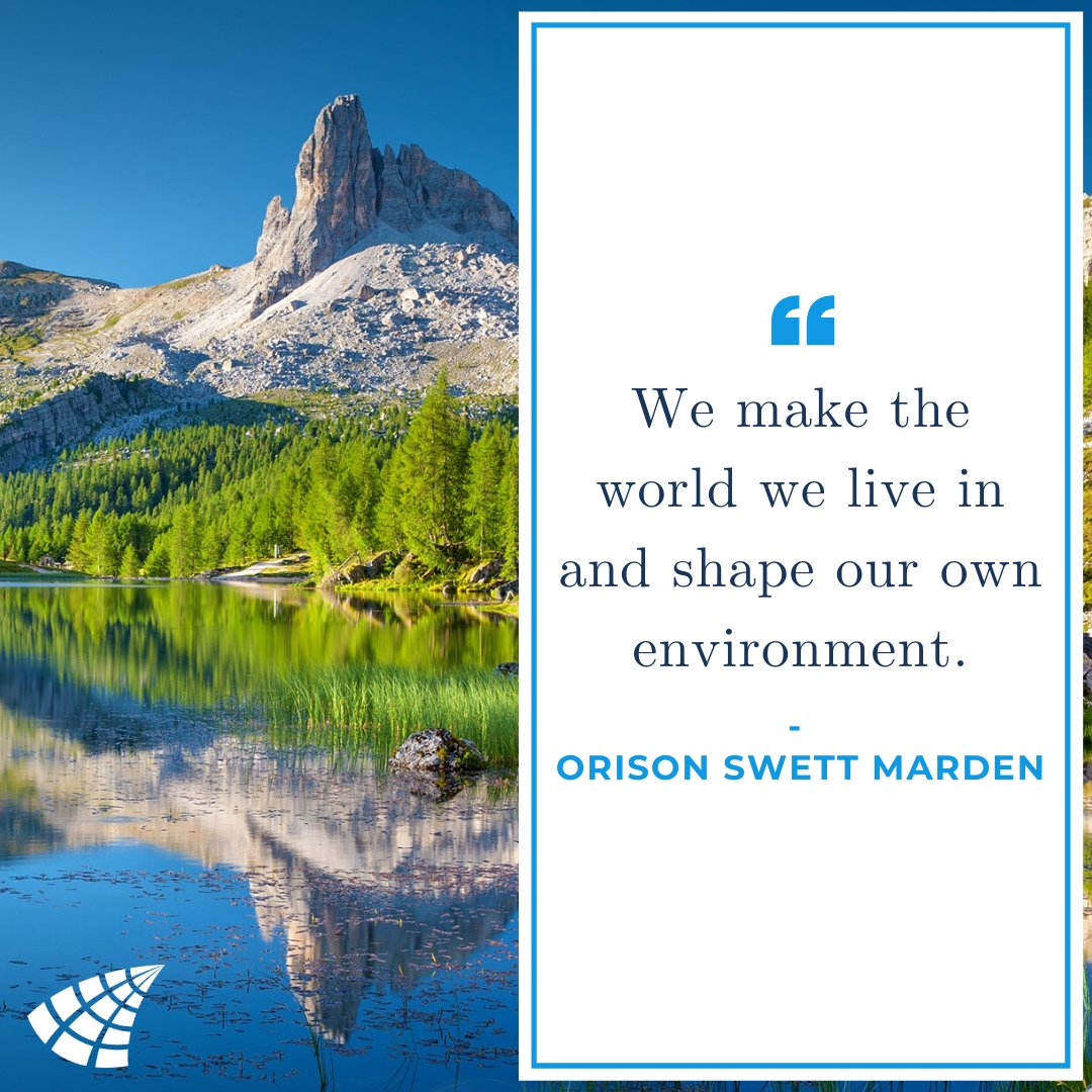 """It's #MondayMotivation!   """"We make the world we live in and shape our own environment."""" - Orison Swett Marden  #lifequotes #quotesforlife #quote #motivation #sad #quotes #poetry #college #learning #adult<br>http://pic.twitter.com/lh5KpTmWAd"""