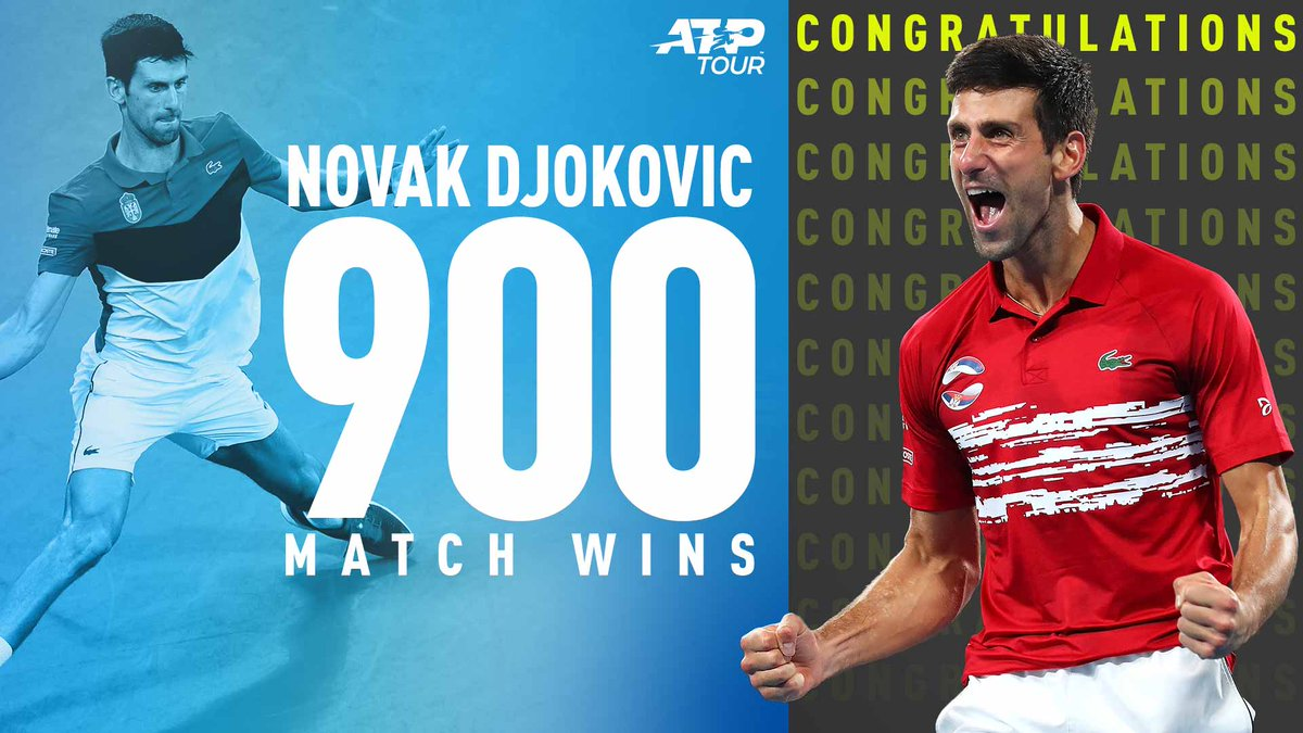 match wins for @DjokerNole!  What a career this is turning out to be   #ATPTour | #AusOpen <br>http://pic.twitter.com/6tpTFw48Kv