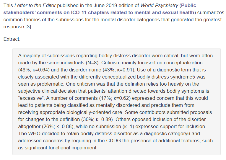 Extract: World Psychiatry, June 2019  Letter to Editor:  Public stakeholders' comments on ICD-11 chapters related to mental and sexual health, by Johannes Fuss, Kyle Lemay, Dan J. Stein, Peer Briken, Robert Jakob [WHO], Geoffrey M. Reed, Cary S. Kogan,   https://onlinelibrary.wiley.com/doi/pdf/10.1002/wps.20635…pic.twitter.com/NVoc8ORaHa