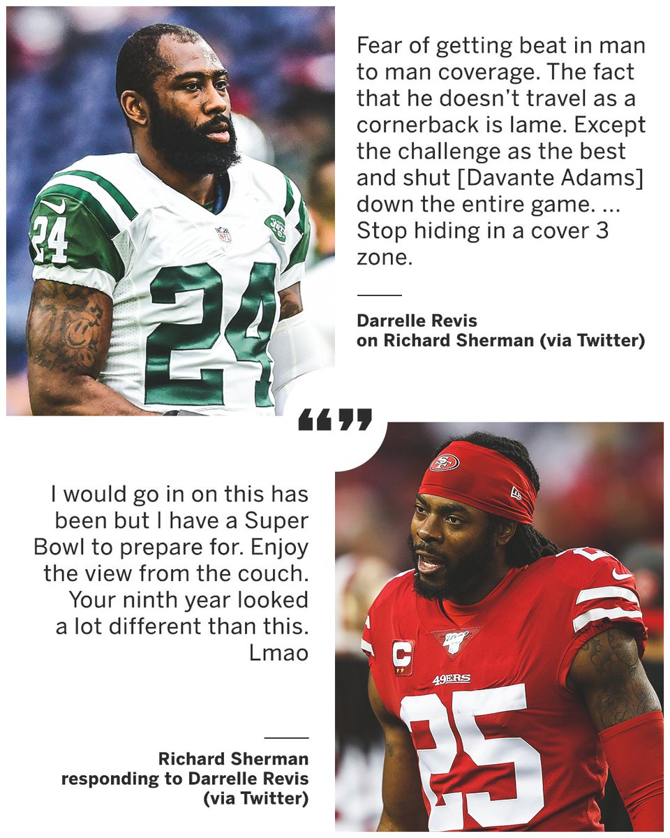 Darrelle Revis and Richard Sherman went back-and-forth on Twitter following the 49ers NFC Championship win 👀