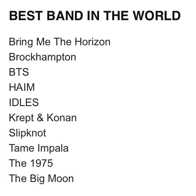 Congratulations! @BTS_twt is nominated for three categories at #NMEAwards2020   -Best Band in the World : BTS  -Brst Collaboration : Halsey + BTS  -Best Music Film : Bring The Soul  https:// twitter.com/nme/status/121 9183948724690947  … <br>http://pic.twitter.com/x6VHuxBkpG