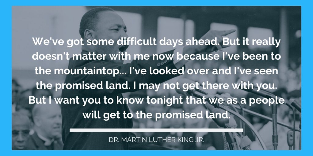 Happy #MLKDay. Thank you to Dr. King for getting us this far, and may we continue our trek to the promised land in honor of him and the others who cannot be here with us physically.