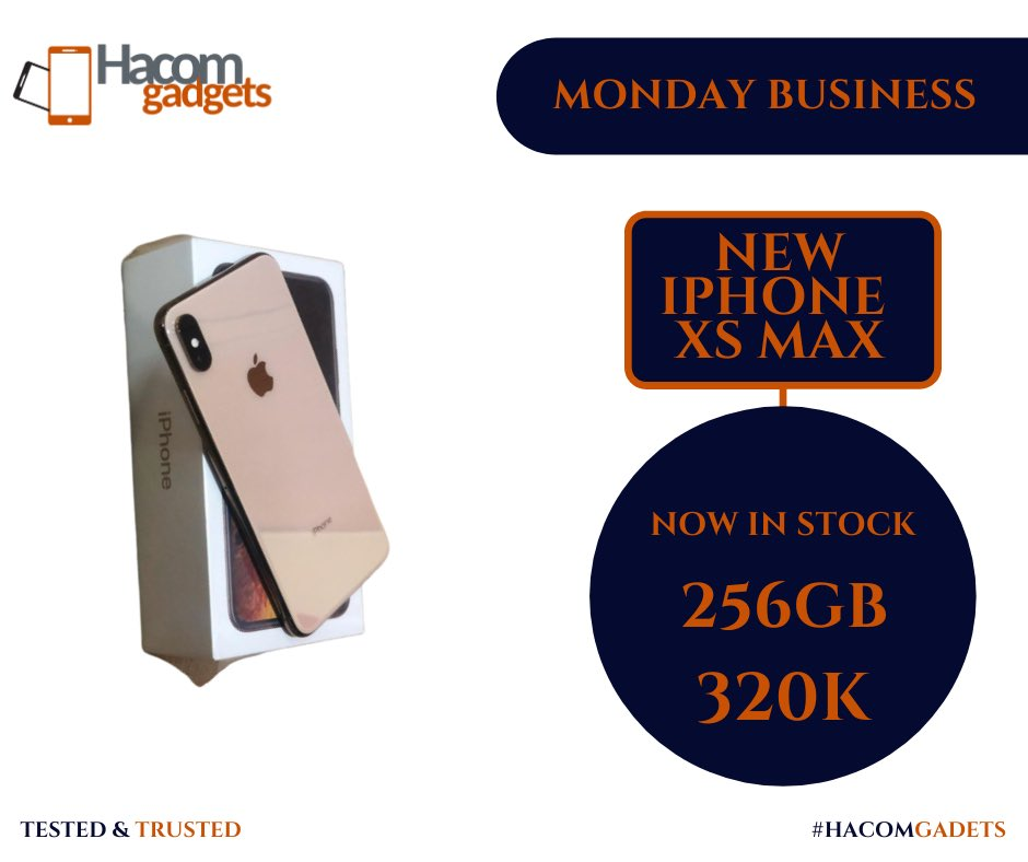 Monday Business   New Product  New IPhone XsMax | 256GB | 320k  Cha Cha Untouched, Unopened.  Send a Dm to order   Tested & Trusted #HACOMDEYFORYOUpic.twitter.com/pouKwbfjKI