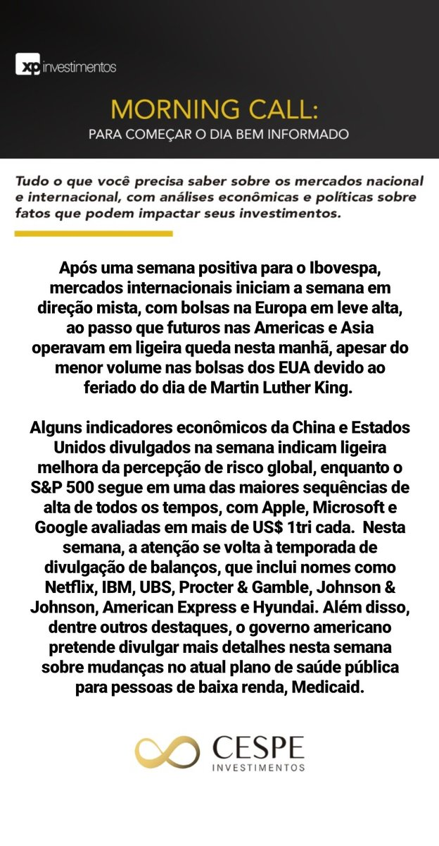 Foco na temporada de resultados internacional  #morningcall #investimentos #mercadofinanceiro #planejamentofinanceiro #morning #news #cespeinvestimentos #acreditenoimpossivelpic.twitter.com/MGSWtPhsXO