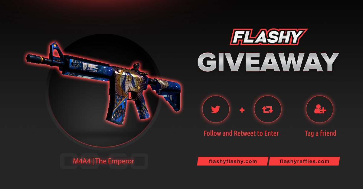 24H GIVEAWAY !!!  M4A4 The Emperor !  To win:  Visit to support us:  http:// flashyflashy.com      Visit for more raffles:  http:// flashyraffles.com      Retweet  Follow us  Turn on twitter notifications  #flashyflashy #giveaway #csgoskins #CSGOGiveaway<br>http://pic.twitter.com/Hwfq3WaUXv