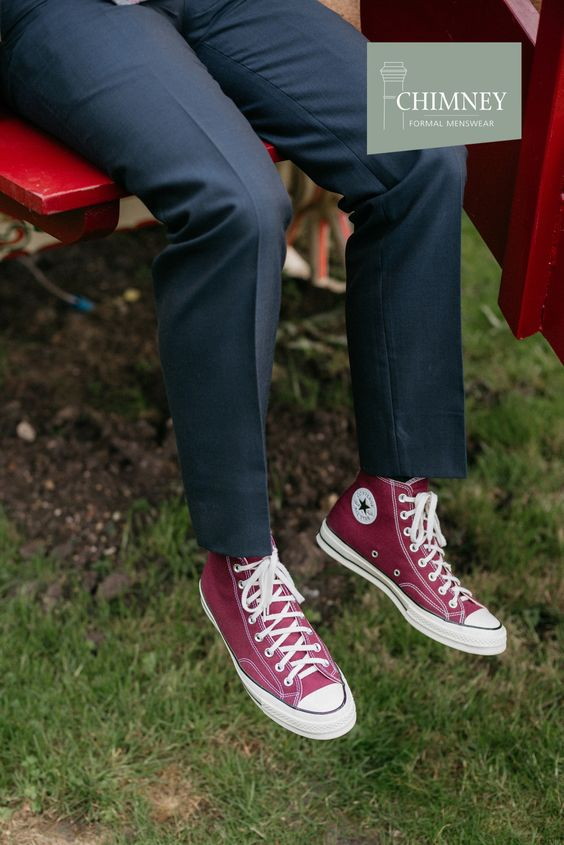 Red Converse with a grey suit? If that's what you want to wear for your wedding, do it!  It's your day – show off your personality.   #weddinginspo #menswear #groompic.twitter.com/e56ifhWQ4A