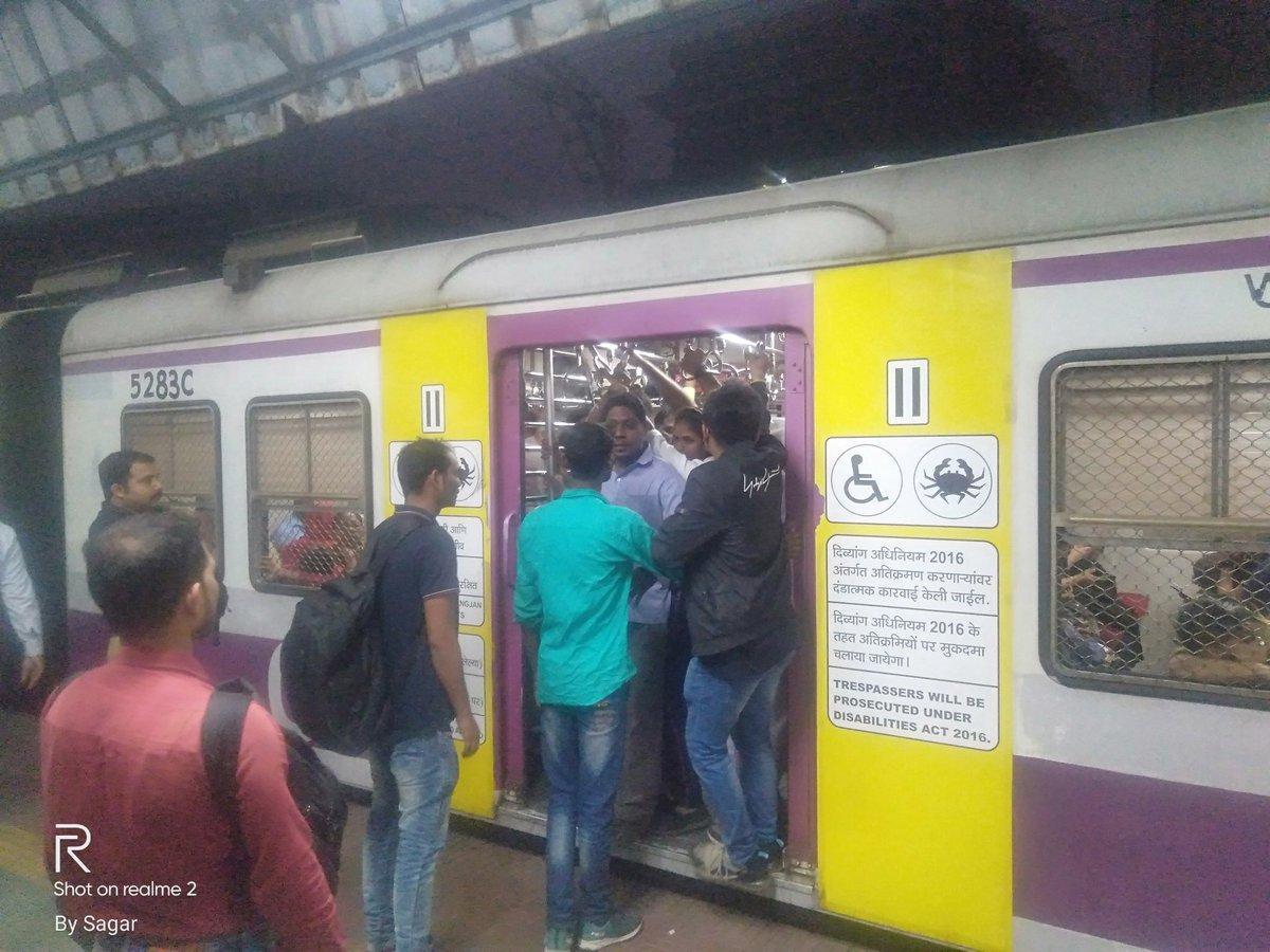 @drmmumbaicr @rpfcrbb @rpfcr @RailwaySeva 6.43 PM down kalyan slow local from ghatkopar, cst side #Divyang reserved coach occupied by non disabled . Pl take NA. pic.twitter.com/nQwgDZzajv