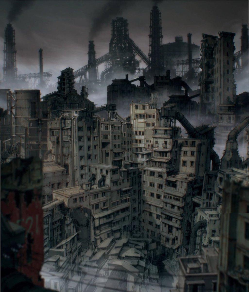 Backgrounds from Dorohedoro ( 2020, Studio Mappa, Art Director Shinji Kimura ) <br>http://pic.twitter.com/qs1muzkugO